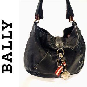 BALLY Vintage Black Leather Hobo Shoulder Bag